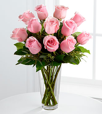 12 The Long Stem Pink Rose Bouquet
