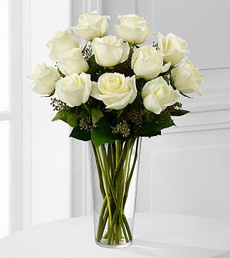 White 1 Dozen Long Stem Roses