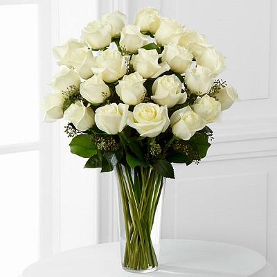 24 Long Stem White Roses
