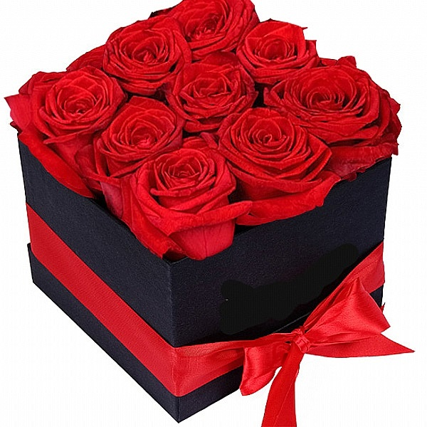 9 Red roses in Box