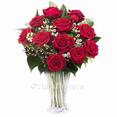 11 red roses in vase