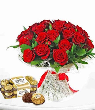 25 RED ROSES AND FERRERO ROCHER