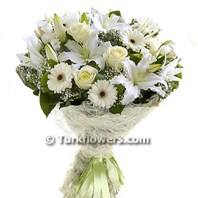 Lily and White Roses Bouquet