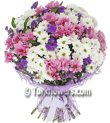 Pink and White daisy bouquet