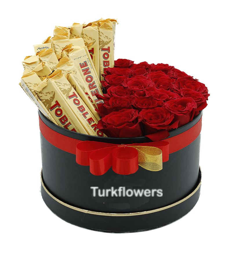 Box of Red Roses with Toblerone Chocolate