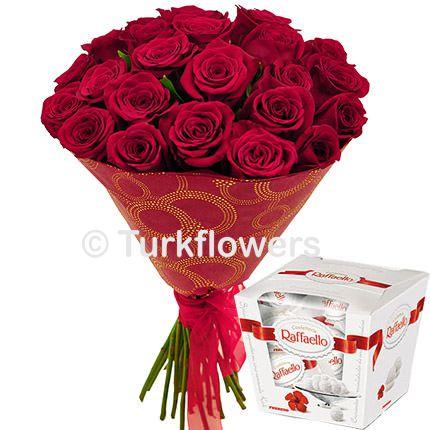 25 Red roses + Raffaello