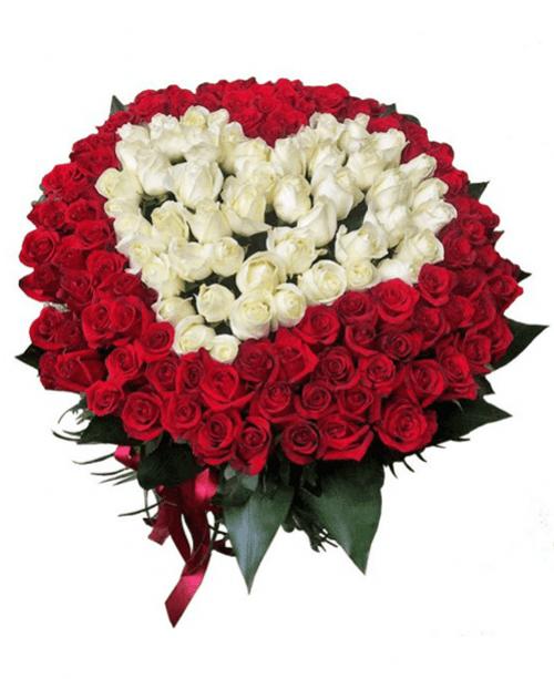 101 roses Bouquet Heart