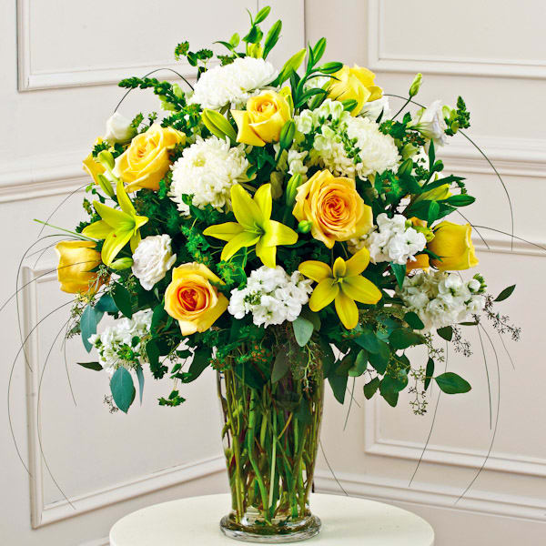 yellow-&-white-large-sympathy-vase-arrangement